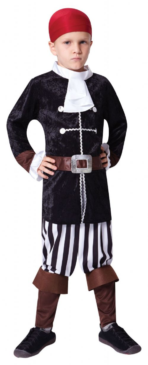 Boys Deluxe Pirate Captain Costume Buccaneer Sailor Jack Blackbeard Fancy Dress